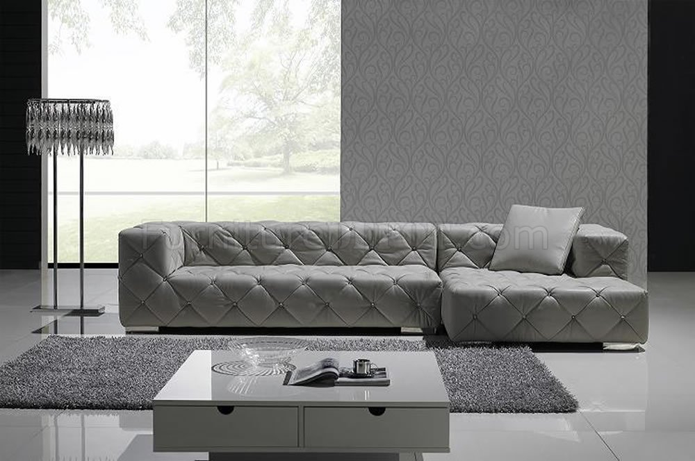 Grey Full Italian Leather Modern Sectional Sofa W/Crystals For Noa Sectional Sofas With Ottoman Gray (View 7 of 15)
