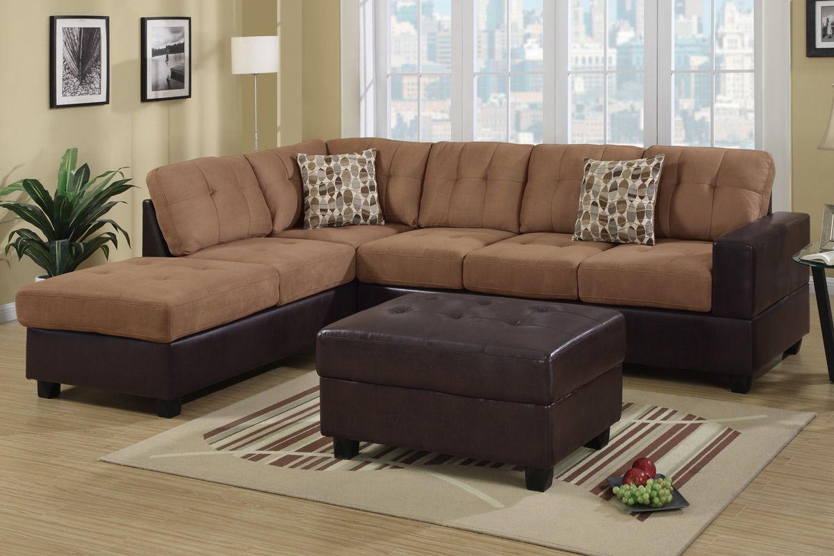 Hagan Saddle Faux Leather Sectional Sofa – Steal A Sofa For Los Angeles Sectional Sofas (View 8 of 15)
