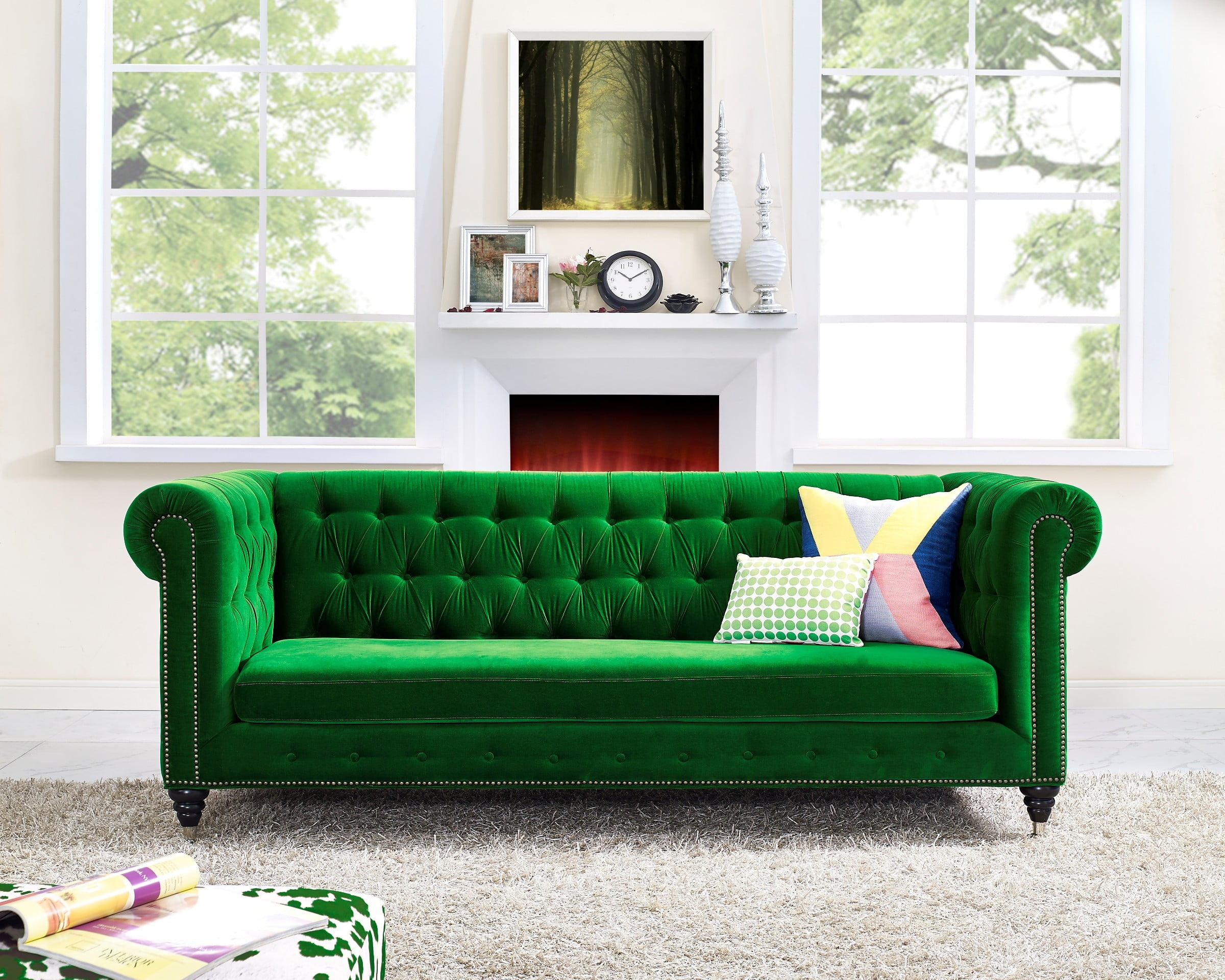 Hanny Green Velvet Sofa From Tov (S42)   Coleman Furniture For Green Sectional Sofas (View 9 of 15)