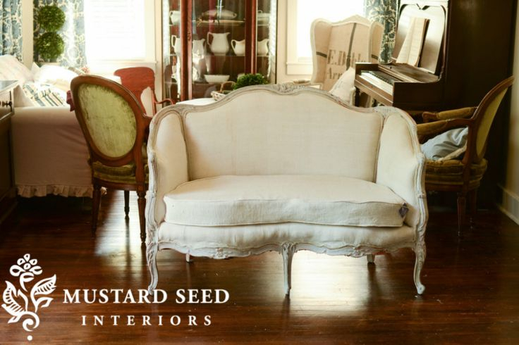 Happy Ending & French Settee Makeover | Miss Mustard Seed Intended For French Seamed Sectional Sofas Oblong Mustard (View 1 of 15)