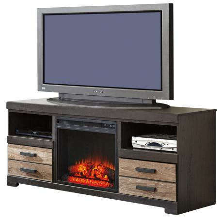 Harlinton Large Tv Stand W/Fireplace Option In Warm Gray Throughout Current Fulton Oak Effect Corner Tv Stands (View 12 of 12)
