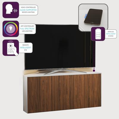High Gloss White And Walnut Effect Corner Tv Cabinet 110Cm For Preferred Hannu Tv Media Unit White Stands (View 8 of 15)