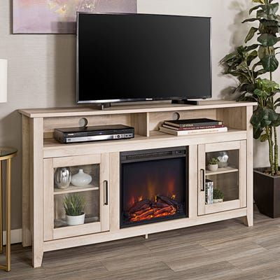 Highboy White Oak Fireplace Tv Stand (View 15 of 15)