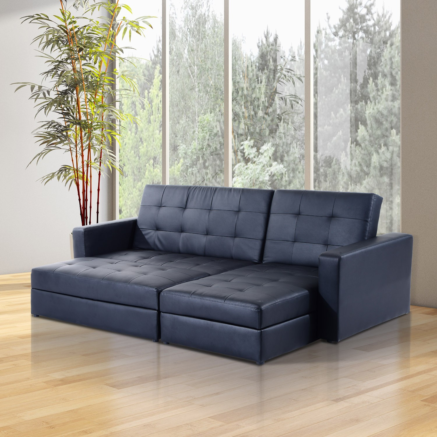 Homcom Button Tufted Sofa Bed Set Sectional Daybed Storage Pertaining To Sectional Sofas With Storage (View 5 of 15)
