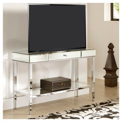 Hutton Glam Mirrored Tv Stand Entry Console – Chrome Regarding Trendy Chromium Tv Stands (View 9 of 15)