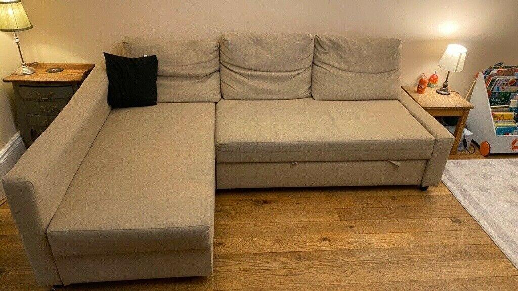 Ikea Friheten Corner Sofa Bed With Storage – Beige | In Regarding Ikea Corner Sofas With Storage (View 8 of 15)