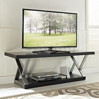 Industrial Black Glass 60 Inch Tv Stand – Overstock – 7750948 Throughout Well Known Modern Black Floor Glass Tv Stands With Mount (View 1 of 15)