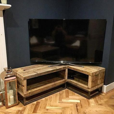Industrial Chic Reclaimed Corner Tv Unit Standm Media Unit With Fashionable Rustic Corner Tv Stands (View 11 of 15)