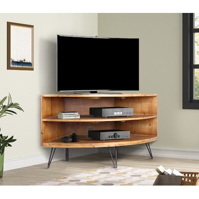 """Industrial Lodge Home Lockheart Solid Wood Corner Tv Stand In Recent Mathew Tv Stands For Tvs Up To 43"""" (View 1 of 15)"""