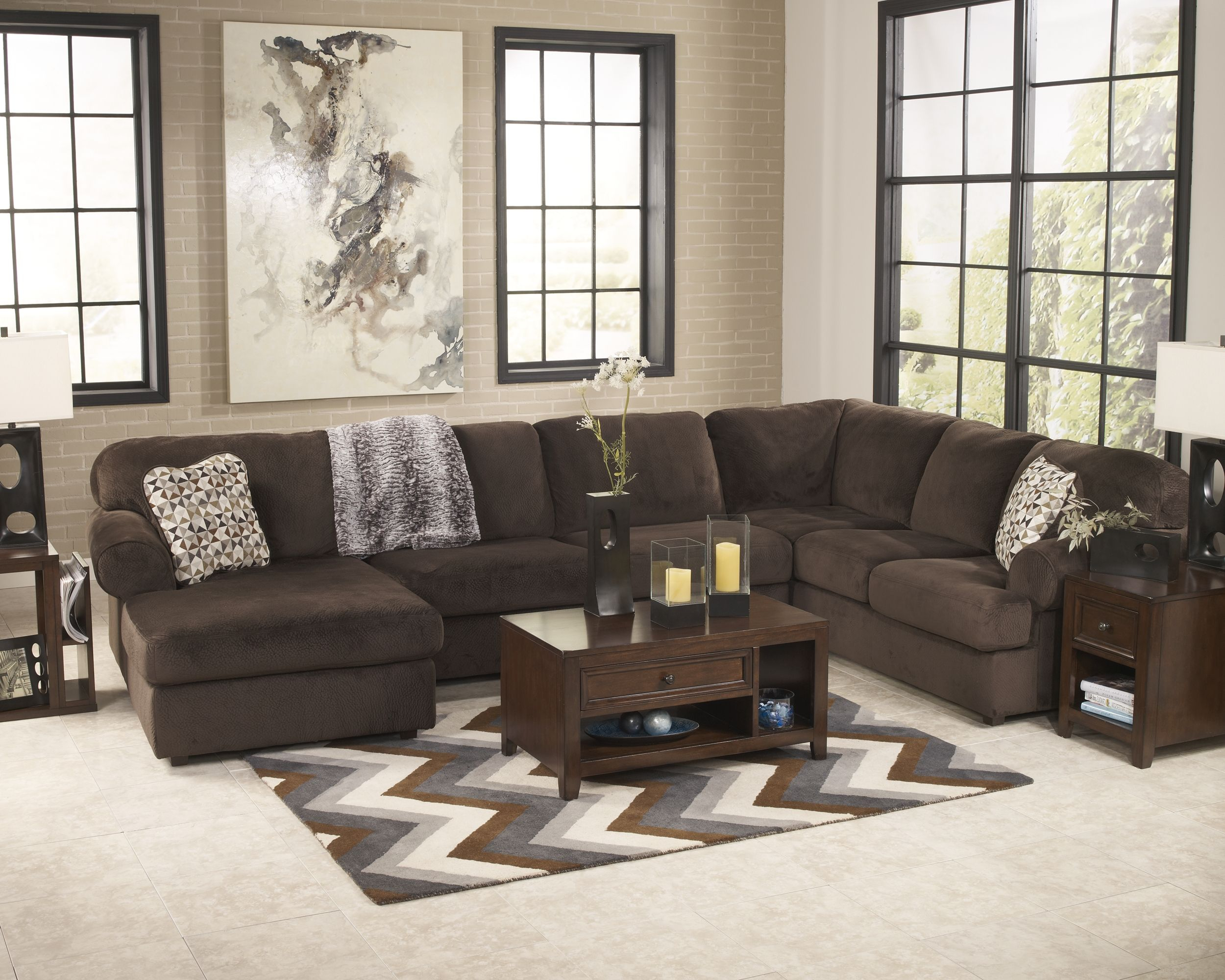 Jessa Place 3 Piece Sectional, Chocolate | Sectional Sofa For Norfolk Chocolate 3 Piece Sectionals With Raf Chaise (View 15 of 15)