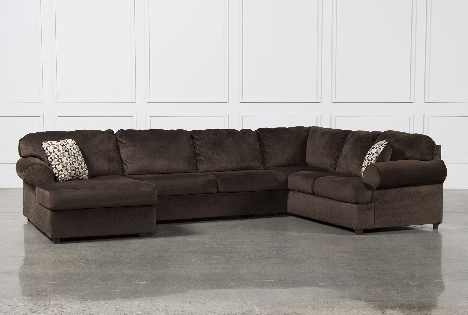 Jessa Place Chocolate 3 Piece Sectional W/Laf Chaise With Norfolk Chocolate 3 Piece Sectionals With Raf Chaise (View 11 of 15)