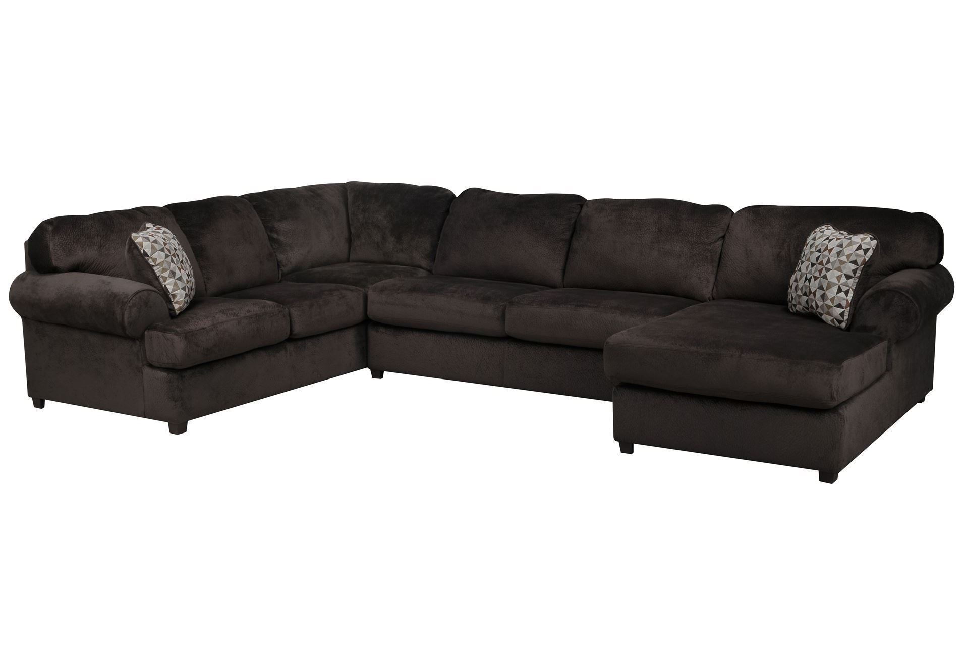 Jessa Place Chocolate 3 Piece Sectional W/Raf Chaise For Norfolk Chocolate 3 Piece Sectionals With Raf Chaise (View 1 of 15)