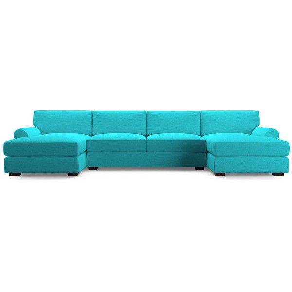 Joybird Leo Mid Century Modern Blue U Chaise Sectional With Dulce Mid Century Chaise Sofas Dark Blue (View 4 of 15)