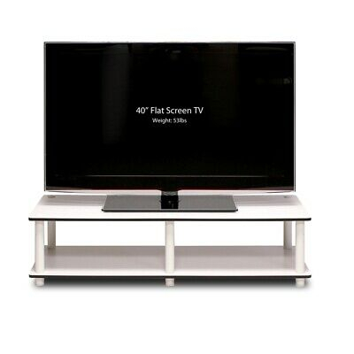 Just No Tools Wide Tv Stand, White Finish W/White Tube Intended For Trendy Oliver Wide Tv Stands (View 8 of 15)