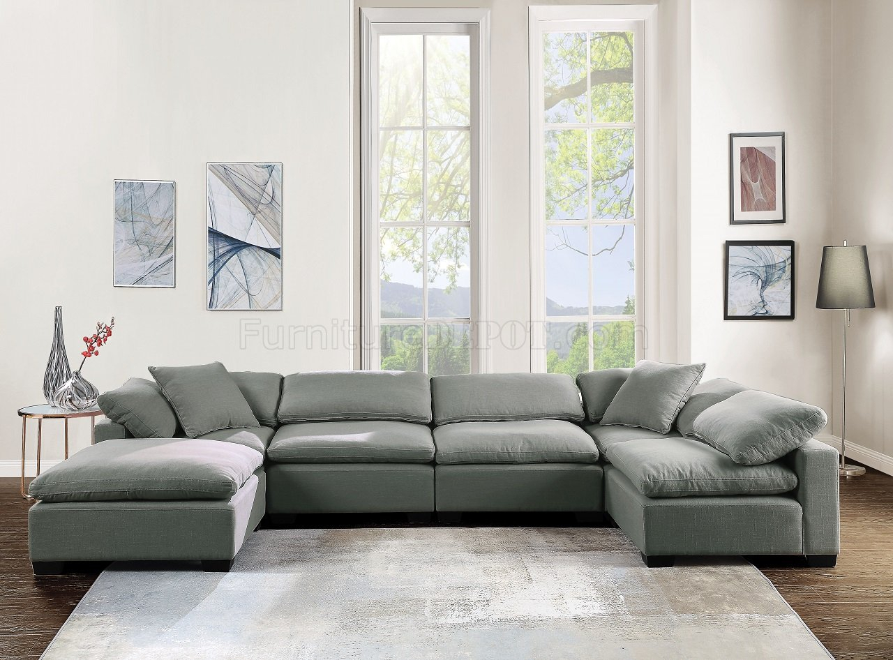 Kerry Modular Sectional Sofa In Gray Linenacme W/Options For Sectional Sofas With Oversized Ottoman (View 12 of 15)