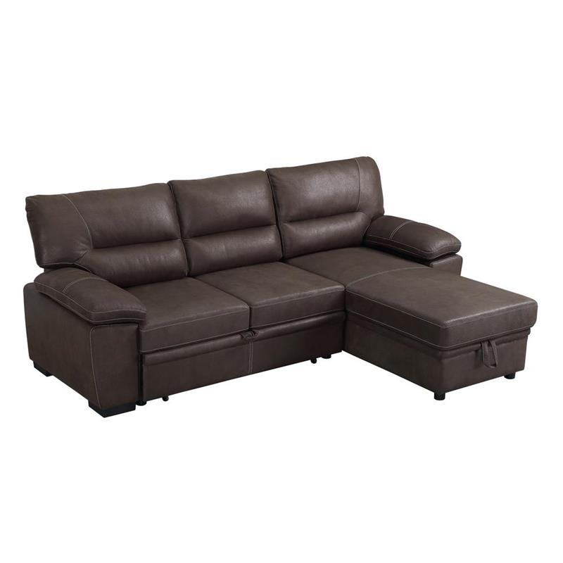 Kipling Brown Microfiber Reversible Sleeper Sectional Sofa Regarding Palisades Reversible Small Space Sectional Sofas With Storage (View 10 of 15)