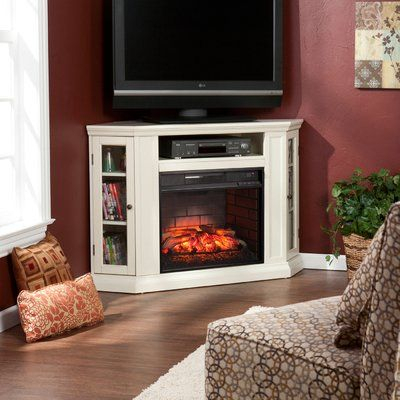 """Kitsco Boyer Tv Stand For Tvs Up To 55"""" With Fireplace For 2017 Compton Ivory Corner Tv Stands (View 12 of 15)"""