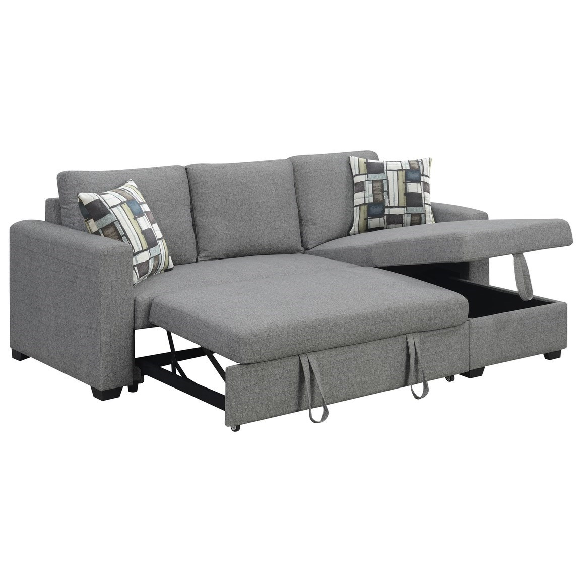 Langley 2 Piece Sectional With Reversible Chaise   Sadler With Palisades Reversible Small Space Sectional Sofas With Storage (View 9 of 15)