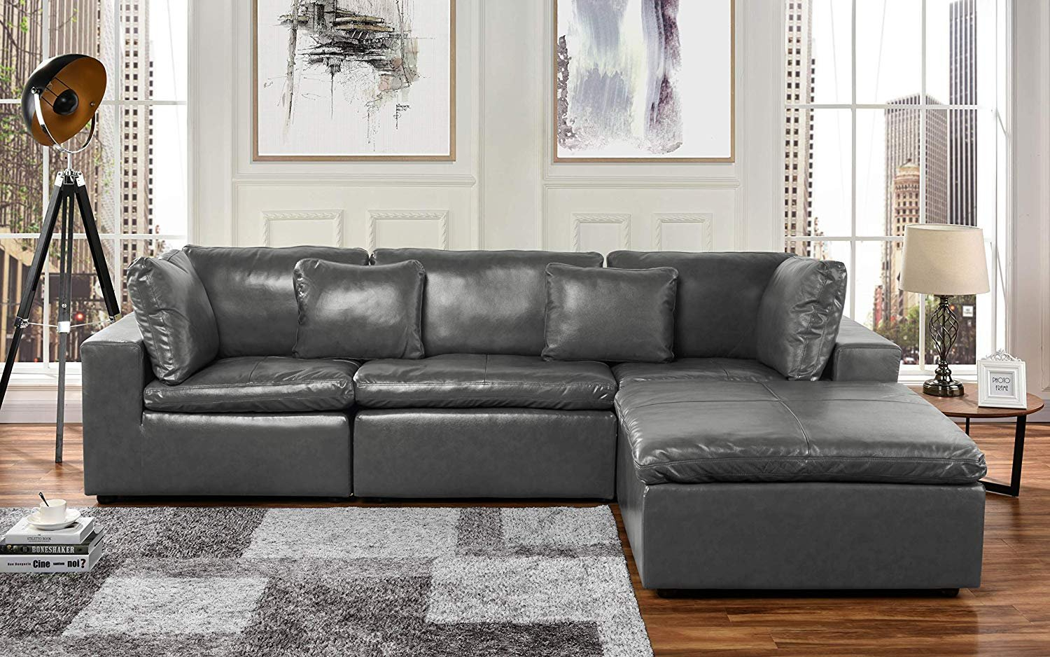 Large Leather Sectional Sofa, L Shape Couch With Wide For Oversized Sectional Sofas (View 3 of 15)