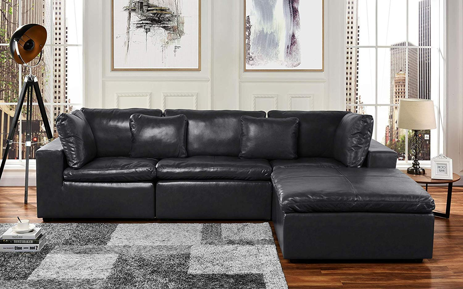 Large Leather Sectional Sofa, L Shape Couch With Wide In Sectional Sofas (View 8 of 15)