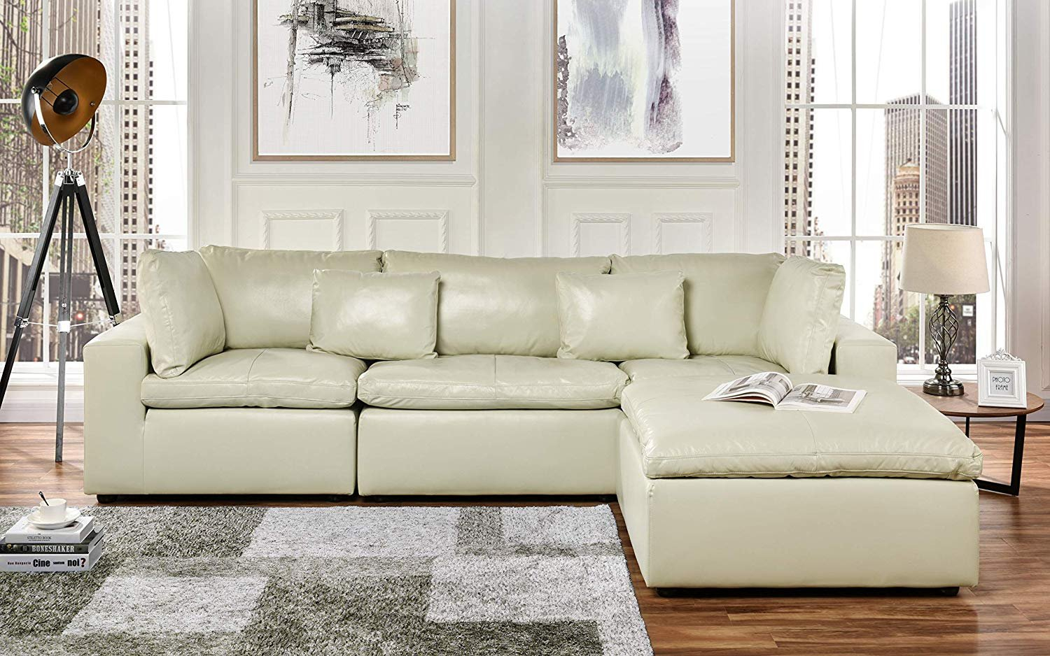 Large Leather Sectional Sofa, L Shape Couch With Wide Inside Oversized Sectional Sofas (View 1 of 15)