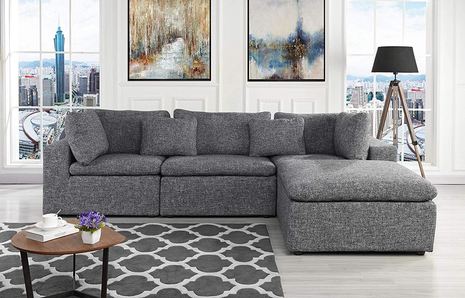 Large Linen Fabric Sectional Sofa, L Shape Couch With Wide Throughout Sectional Sofas With Oversized Ottoman (View 5 of 15)