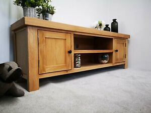 Large Oak Tv Stand – Chunky 150Cm Wide Tv Unit – Solid With Regard To Latest Orsen Wide Tv Stands (View 9 of 15)