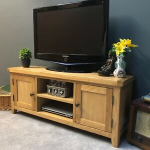 Large Oak Tv Stand Wide Solid Wood Television Unit With Within Fashionable Indi Wide Tv Stands (View 4 of 15)