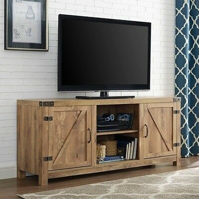 Large Rustic Barn Door Console Tv Stand Cabinet Media Throughout Most Recent Carbon Extra Wide Tv Unit Stands (View 4 of 15)