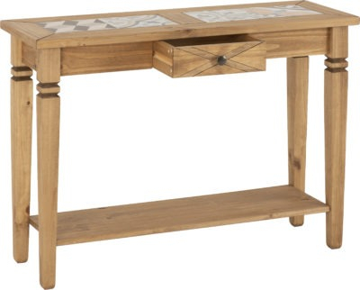Latest Corona Small Tv Stands In Salvador Tile Top Console Table – Distressed Waxed Pine (View 9 of 15)