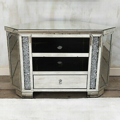 Latest Fitzgerald Mirrored Tv Stands In Luxury Mirrored Crushed Diamond Tv Stand, Sparkle Glitz Tv (View 1 of 15)