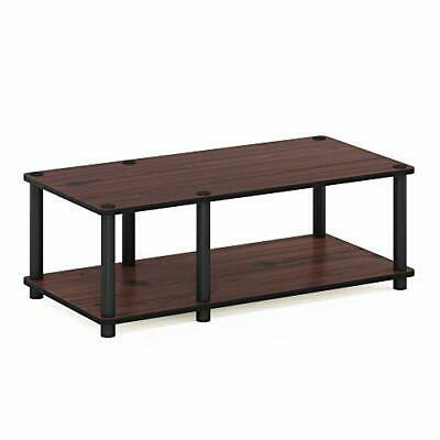 Latest Furinno 2 Tier Elevated Tv Stands Intended For Furinno 11174Dc(Bk)/Bk Just No Tools Mid Tv Stand, Dark (View 7 of 15)