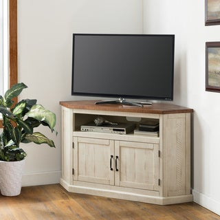 Latest Priya Corner Tv Stands For Shop White 46 Inch Corner Tv Stand & Media Console (View 6 of 15)