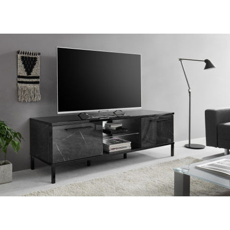 Latest Tv Stands With Led Lights In Multiple Finishes With Regard To Mango 156Cm Black Marble Gloss Tv Unit With Led Lights (View 13 of 15)