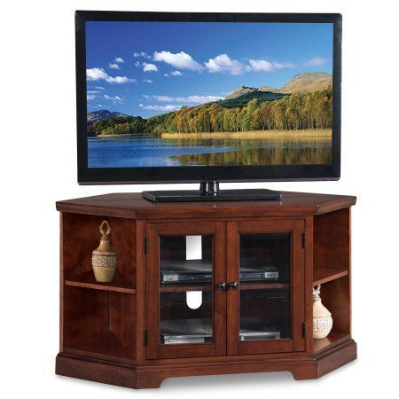 """Leick Home Westwood 46"""" Corner Tv Stand W/Bookcases For Tv Inside 2017 Rustic Red Tv Stands (View 2 of 15)"""