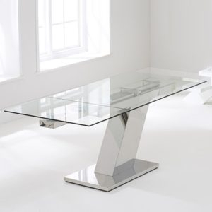 Lemar Glass Extending Dining Table With 6 Milan White In Latest Milan Glass Tv Stands (View 1 of 15)