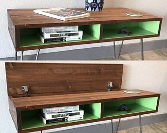 Lift Top Coffee Table, Mid Century Modern, Hidden Storage Regarding Trendy Tv Cabinets And Coffee Table Sets (View 6 of 15)