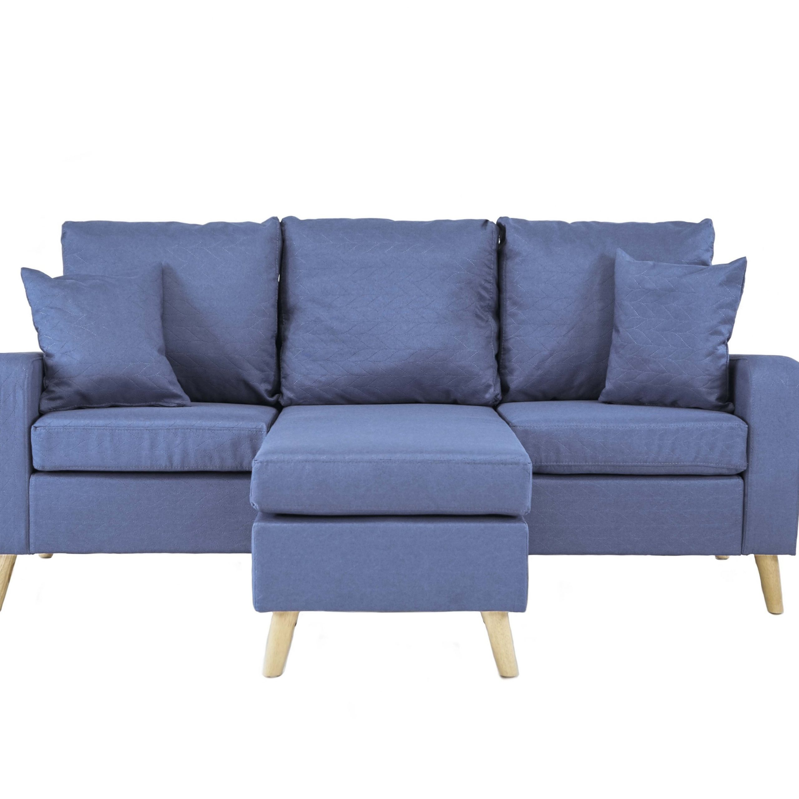 Light Blue Small Space Furniture Sectional Sofa With Inside Dulce Mid Century Chaise Sofas Dark Blue (View 2 of 15)