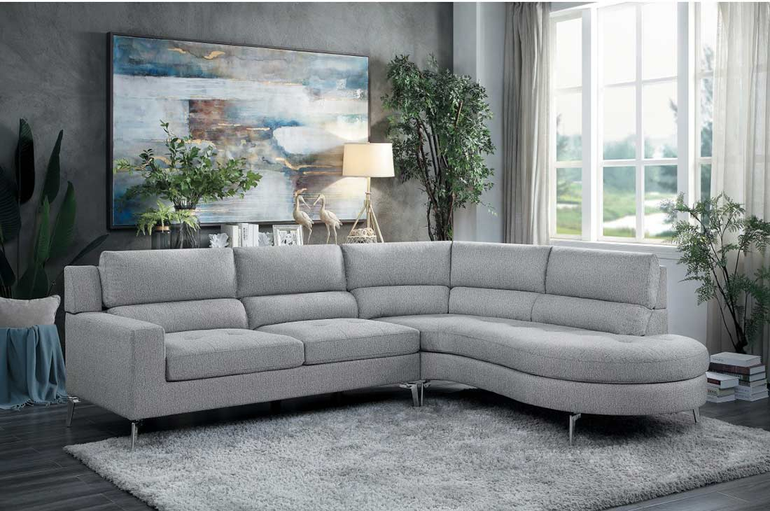 Light Gray Fabric Sectional Sofa He879   Fabric Sectional With Regard To Sectional Sofas (View 12 of 15)