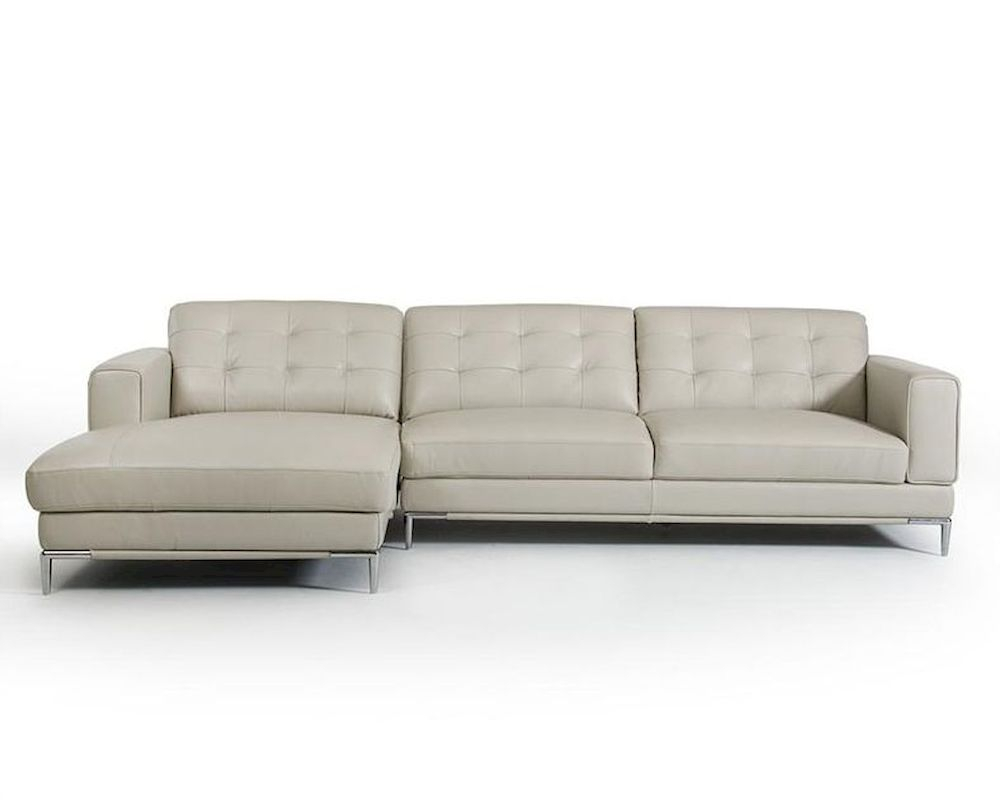 Light Grey Leather Sectional Sofa In Contemporary Style Inside Ludovic Contemporary Sofas Light Gray (View 10 of 15)
