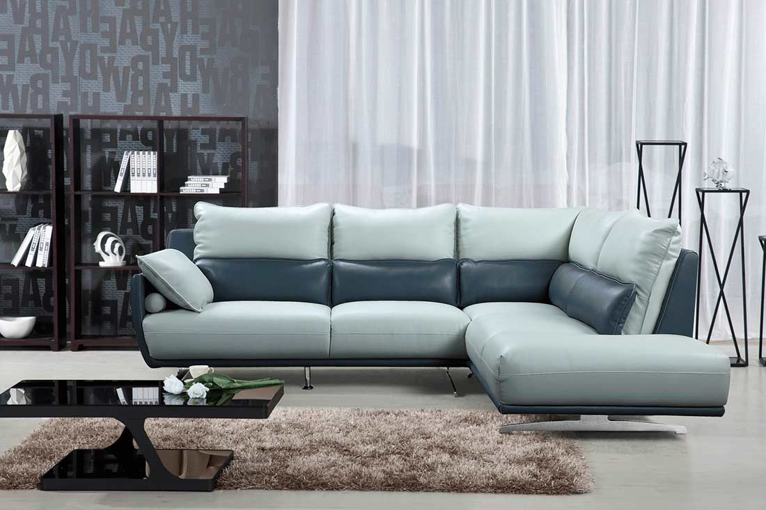 Light Grey With Blue Sectional Sofa Ef 311   Leather Within Ludovic Contemporary Sofas Light Gray (View 4 of 15)