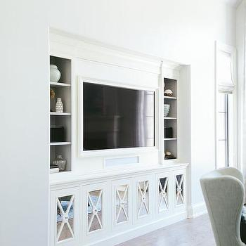 Living Room Built In Cabinets Design Ideas With Widely Used White Painted Tv Cabinets (View 10 of 15)