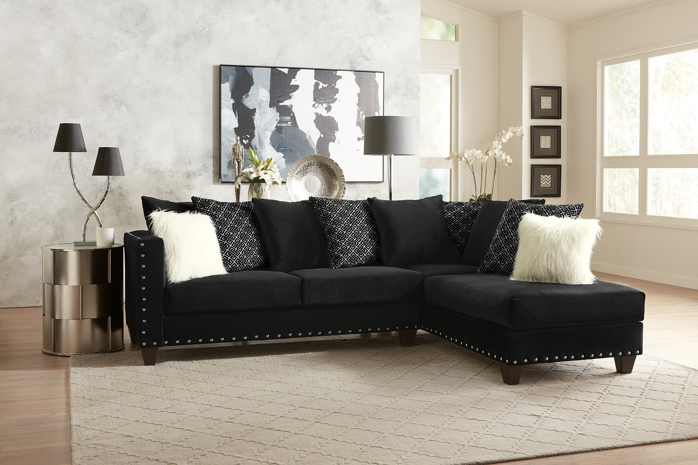 Living Room Modern Classic Black Fabric Sectional Sofa 2Pc For 4Pc Crowningshield Contemporary Chaise Sectional Sofas (View 3 of 15)
