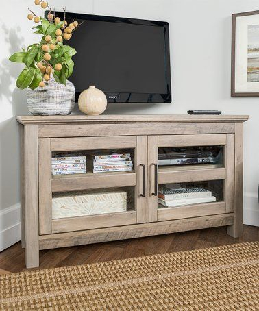 Look At This #Zulilyfind! Gray Wash Wood Corner Tv Stand Within Most Popular Industrial Corner Tv Stands (View 8 of 15)
