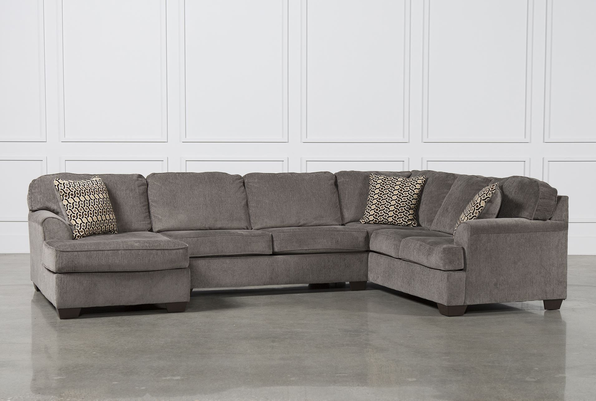 Loric Smoke 3 Piece Sectional W/Laf Chaise | Living Spaces Regarding Norfolk Grey 3 Piece Sectionals With Laf Chaise (View 9 of 15)