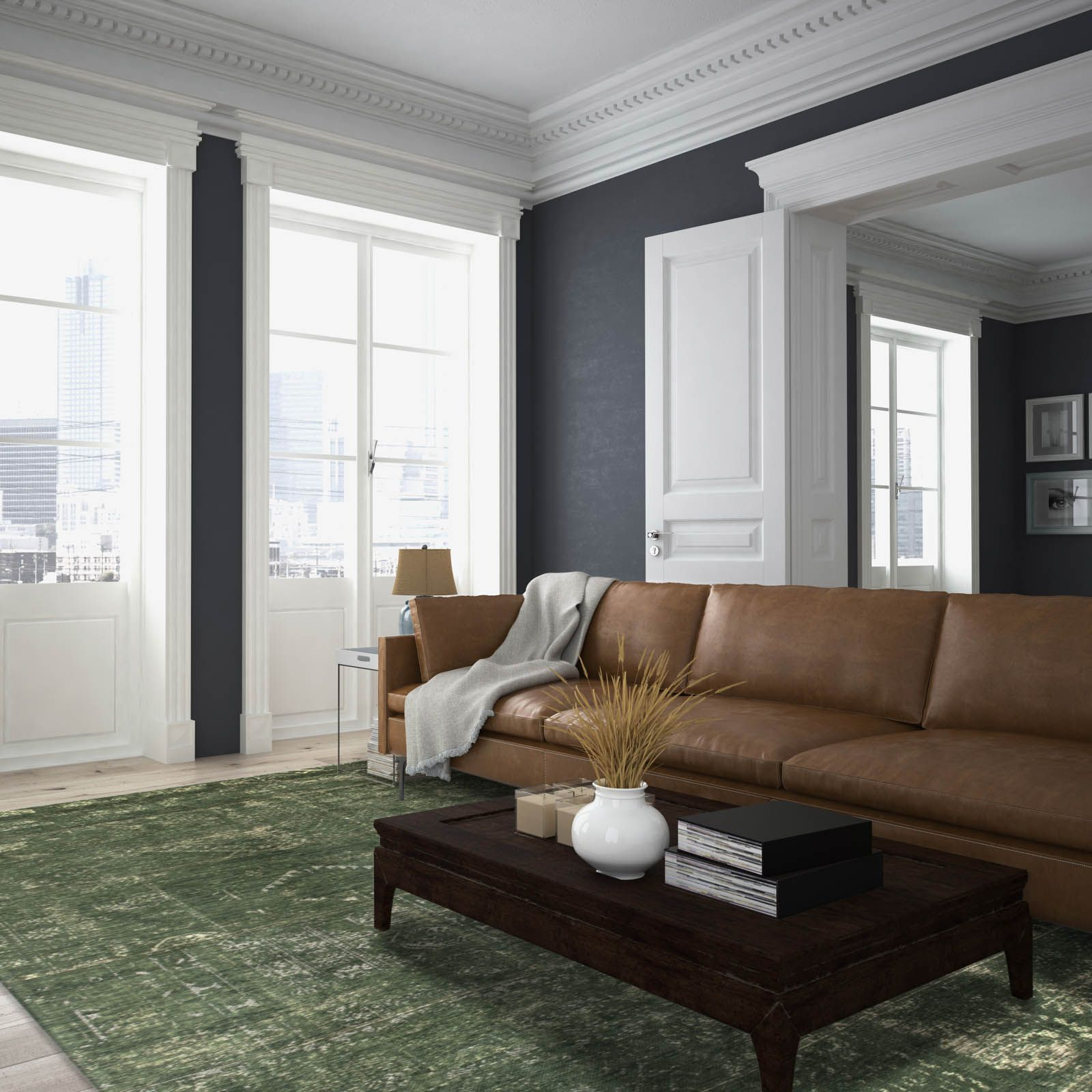 Louis De Poortere Fading World Rugs 8271 Perrier Green Regarding Cromwell Modular Sectional Sofas (View 15 of 15)