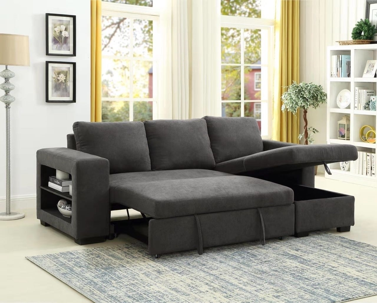 Lucena Reversible Sectional Sofa/Sofa Bed With Storage For Hartford Storage Sectional Futon Sofas (View 10 of 15)