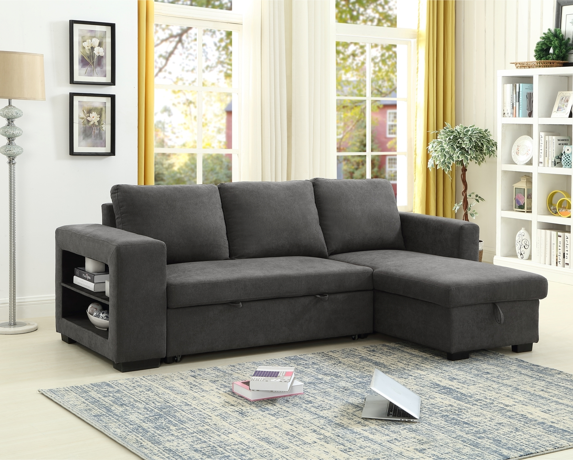 Lucena Reversible Sectional Sofa/Sofa Bed With Storage With Regard To Palisades Reversible Small Space Sectional Sofas With Storage (View 3 of 15)
