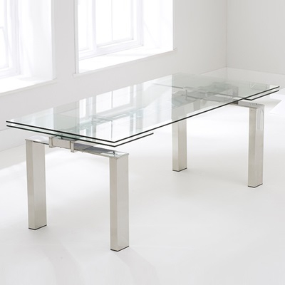Lunar Glass Extending Dining Table With 8 Milan Grey Pertaining To Fashionable Milan Glass Tv Stands (View 13 of 15)