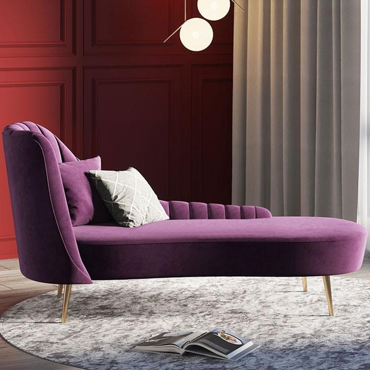Luxury Modern Mid Century Blue / Purple Velvet Upholstered In Dulce Mid Century Chaise Sofas Dark Blue (View 6 of 15)